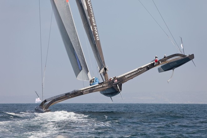 How small is that guy on the helm?   BMW Oracle Racing © Photo Gilles Martin-Raget