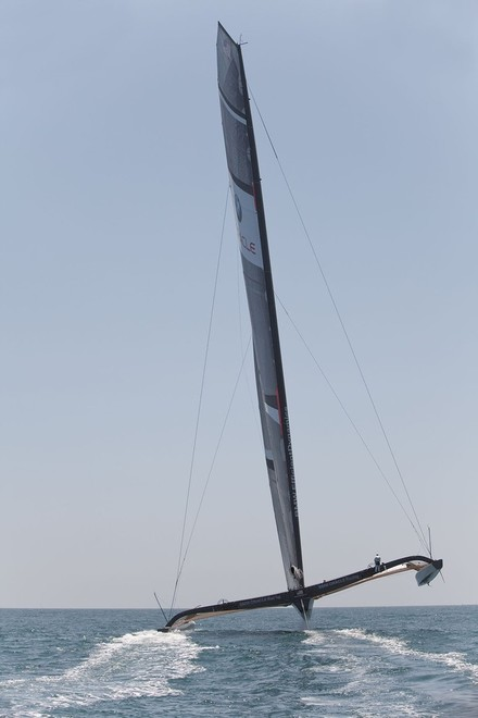 BMW ORACLE Racing with rig canted -  BMW Oracle Racing © Photo Gilles Martin-Raget