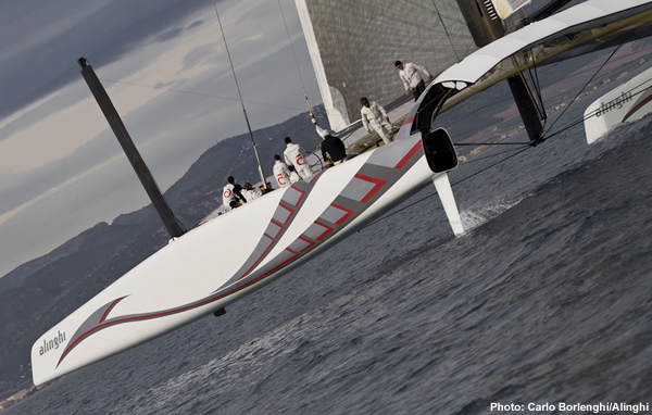 Alinghi Catamaran pottering about in Valencia
